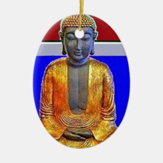 Estatua de Buda en oro por Sharles Adorno Ovalado De Cerámica