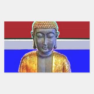 Estatua de Buda en oro por Sharles Pegatina Rectangular