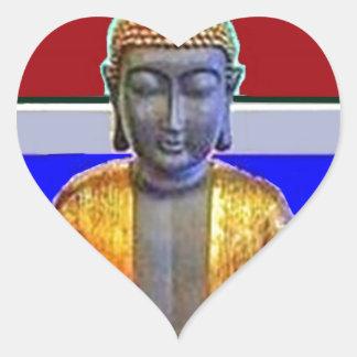 Estatua de Buda en oro por Sharles Pegatina En Forma De Corazón
