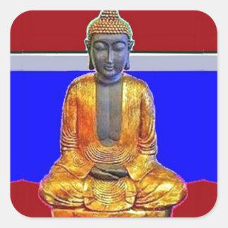 Estatua de Buda en oro por Sharles Pegatina Cuadrada