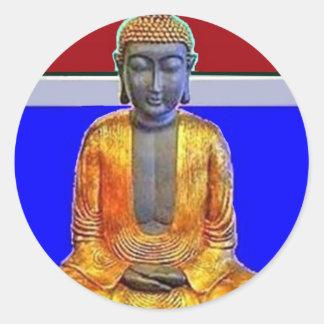 Estatua de Buda en oro por Sharles Pegatina Redonda