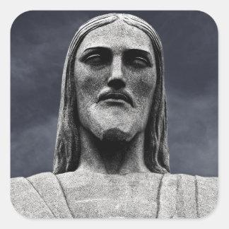 Estatua de Cristo Redentor Pegatina Cuadrada