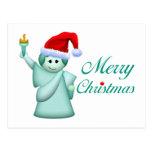 Estatua de Felices Navidad de la libertad Tarjeta Postal