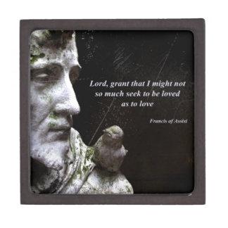 Estatua de Frances del santo con la cita Caja De Regalo De Calidad
