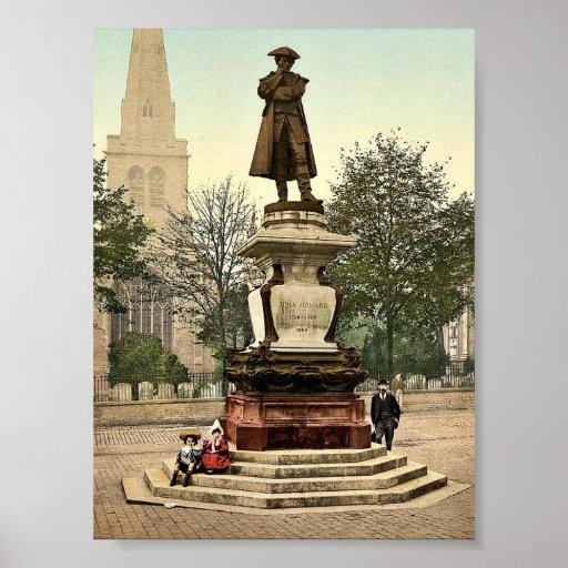 Estatua de Howard, vintage Photochrom de Bedford,  Posters