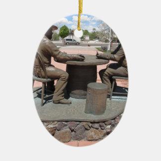 Estatua de juego del vaquero adorno ovalado de cerámica