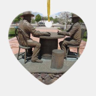 Estatua de juego del vaquero adorno de cerámica en forma de corazón