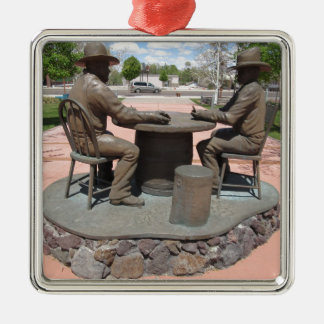 Estatua de juego del vaquero adorno cuadrado plateado