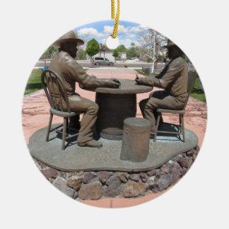 Estatua de juego del vaquero adorno redondo de cerámica