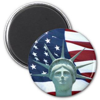 Estatua de la bandera americana de la libertad imanes
