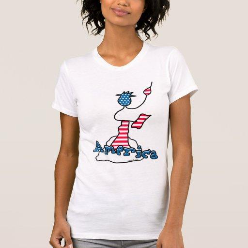 Estatua de la camiseta de América de la libertad Remera