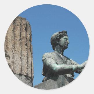 Estatua de la diosa Diana en Pompeya Pegatina Redonda