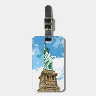 Estatua de la etiqueta del equipaje de la libertad etiquetas bolsa