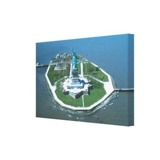 Estatua de la fotografía aérea de la libertad impresión de lienzo