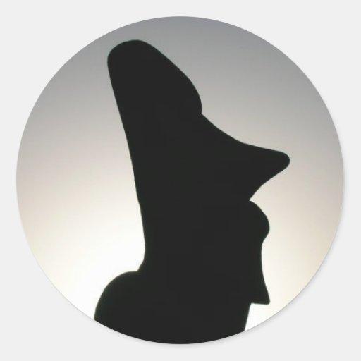 Estatua de la isla de pascua pegatina redonda