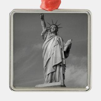 Estatua de la libertad 3 adorno navideño cuadrado de metal