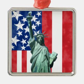 Estatua de la libertad adorno cuadrado plateado