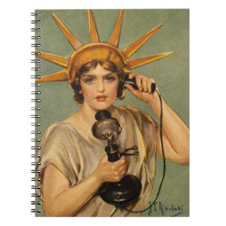Estatua de la libertad, anuncio patriótico del libreta espiral