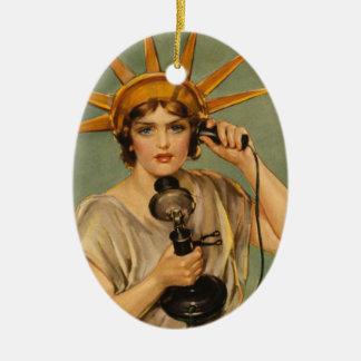 Estatua de la libertad, anuncio patriótico del adorno ovalado de cerámica