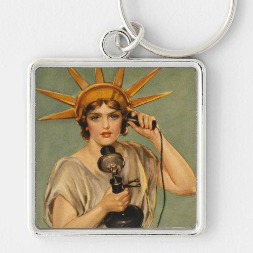 Estatua de la libertad, anuncio patriótico del llavero cuadrado plateado