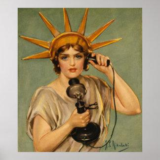 Estatua de la libertad, anuncio patriótico del póster