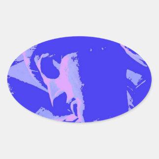 Estatua de la libertad azul pegatina ovalada
