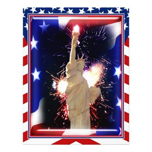 """Estatua de la libertad con los fuegos artificiales folleto 8.5"""" x 11"""""""