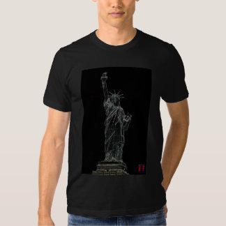 estatua de la libertad de neón poleras