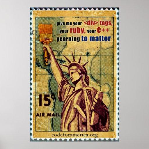 Estatua de la libertad/del código poster