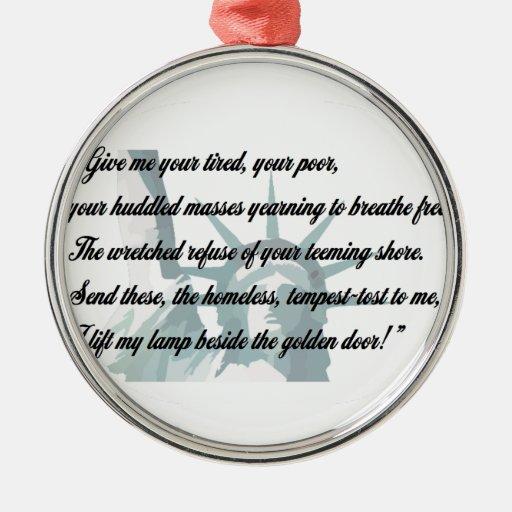Estatua de la libertad - déme su cansado… ornamento para arbol de navidad