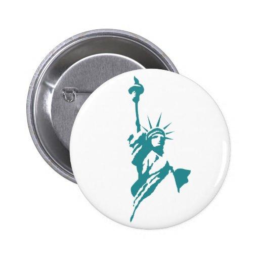 Estatua de la libertad elegante pin redondo 5 cm