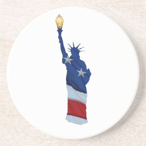 Estatua de la libertad en cualquier color posavasos de arenisca