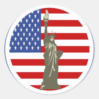 estatua de la libertad en pegatina amercian de la