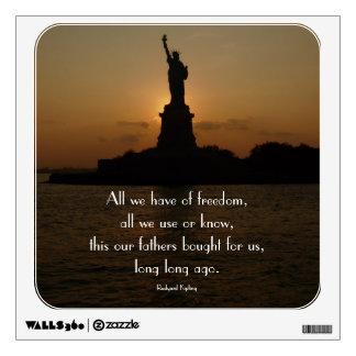 Estatua de la libertad en Puesta del sol-con la ci Vinilo