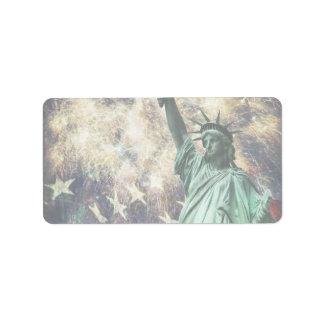 Estatua de la libertad etiqueta de dirección