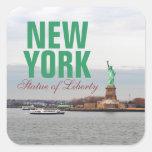 Estatua de la libertad fresca - NY Nueva York Colcomanias Cuadradass