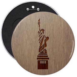 Estatua de la libertad grabada en el diseño de pin redondo 15 cm