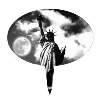 Estatua de la libertad negra y blanca decoración para tarta