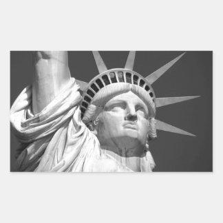 Estatua de la libertad negra y blanca pegatina rectangular