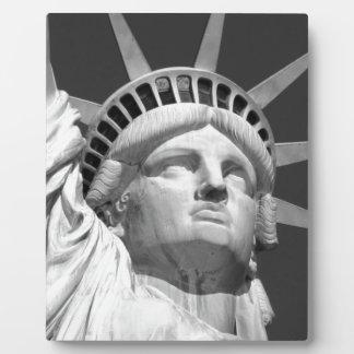 Estatua de la libertad negra y blanca placas de plastico