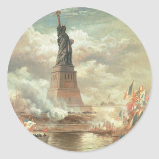 Estatua de la libertad, Nueva York circa 1800's Pegatina Redonda