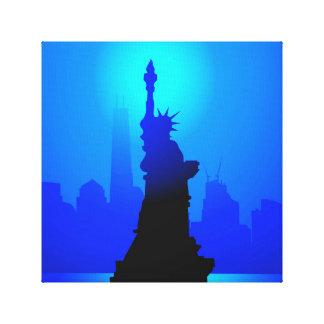 Estatua de la libertad, Nueva York en la noche Impresión En Tela