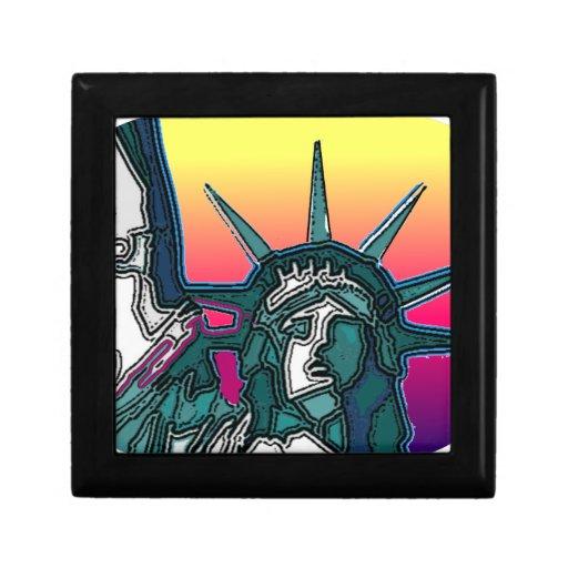 Estatua de la libertad - parte posterior brillante caja de recuerdo