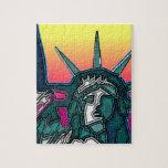 Estatua de la libertad - parte posterior brillante puzzles con fotos