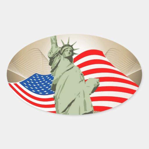Estatua de la libertad pegatina oval