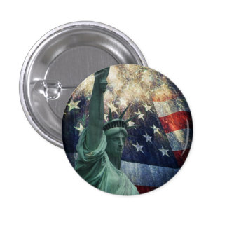 Estatua de la libertad pin redondo de 1 pulgada