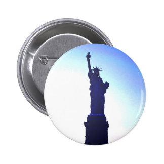 Estatua de la libertad pin redondo de 2 pulgadas