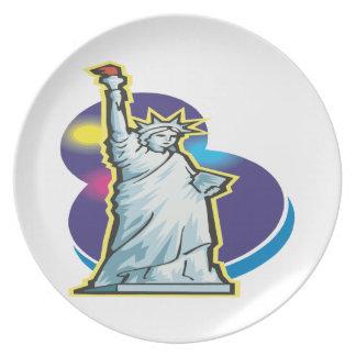 Estatua de la libertad plato de cena