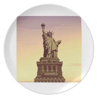 Estatua de la libertad plato para fiesta