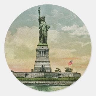 Estatua de la libertad, puerto del vintage de Nuev Pegatinas